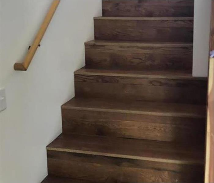 restored stairs after a fire