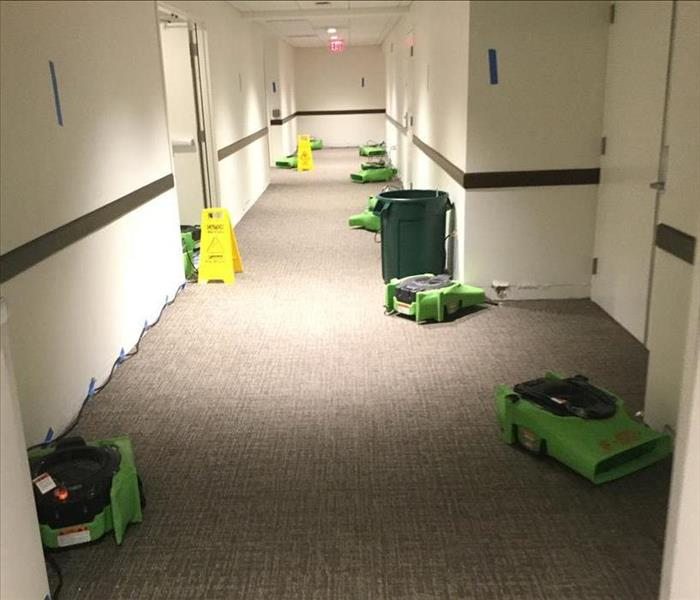 commercial building corridor, carpeted with drying devices at work